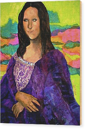 Wood Print featuring the painting Montage Mona Lisa by Laura  Grisham