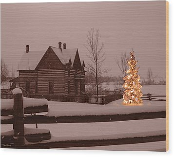Montana Christmas Wood Print by Paul Porto