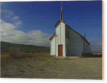 Montana Church Wood Print by Tom  Reed