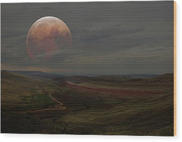Montana Landscape On Blood Moon Wood Print
