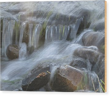 Montana Waterfall Wood Print by Kristy Marsich