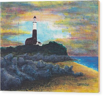 Montauk Point Wood Print by Teddy Campagna