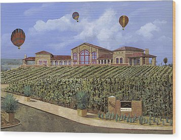 Monte De Oro And The Air Balloons Wood Print by Guido Borelli