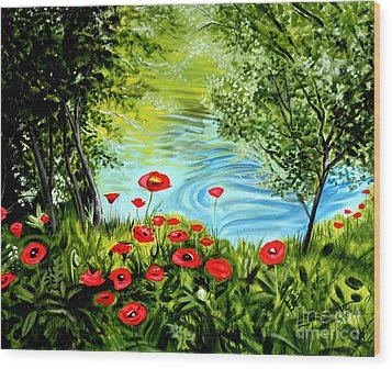 Wood Print featuring the painting Monte Rio Poppies by Elizabeth Robinette Tyndall