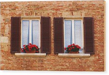 Montepulciano Window Wood Print by Rob Tullis