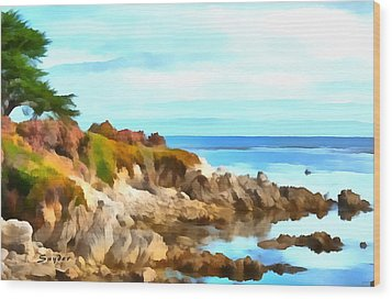 Wood Print featuring the photograph Monterey Coastline Watercolor by Floyd Snyder