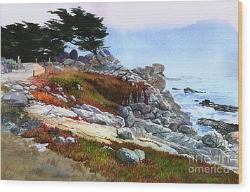 Wood Print featuring the painting Monterey Coast by Sergey Zhiboedov