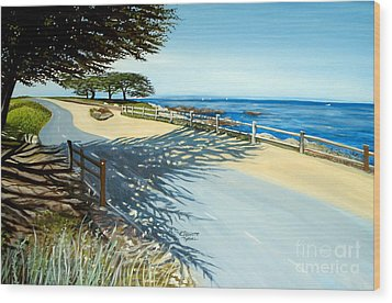 Wood Print featuring the painting Monterey Shadows by Elizabeth Robinette Tyndall