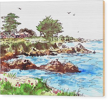 Wood Print featuring the painting Monterey Shore by Irina Sztukowski