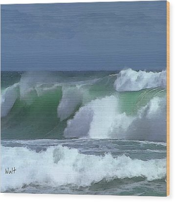 Wood Print featuring the digital art Monterey Surf by Walter Chamberlain