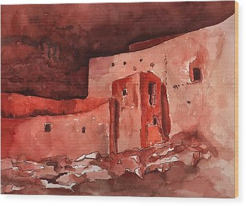 Wood Print featuring the painting Montezuma's Castle by Sharon Mick