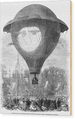 Montgolfier Balloon, 1864 Wood Print by Granger