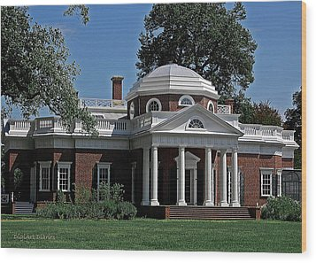 Monticello Wood Print by DigiArt Diaries by Vicky B Fuller