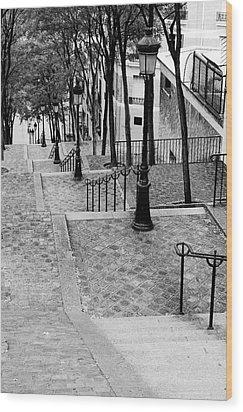 Montmartre Stairway Paris Wood Print by Pierre Leclerc Photography