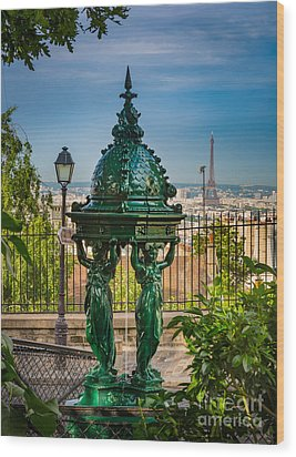 Montmartre Wallace Fountain Wood Print by Inge Johnsson