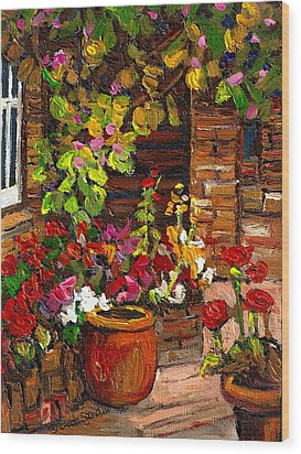 Montreal Cityscenes Homes And Gardens Wood Print by Carole Spandau