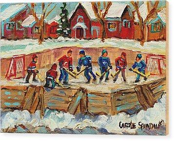 Montreal Hockey Rinks Urban Scene Wood Print by Carole Spandau