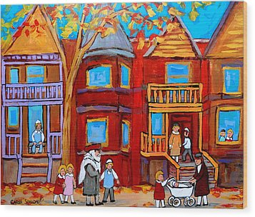 Montreal Memories Of Zaida And The Family Wood Print by Carole Spandau