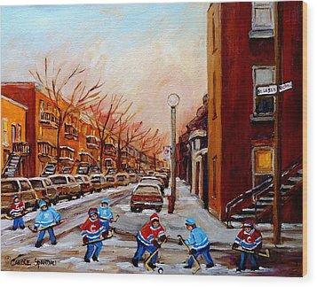 Montreal Street Hockey Game Wood Print by Carole Spandau