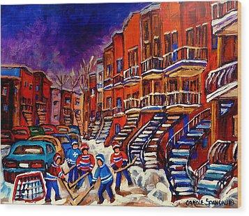 Montreal Street Scene Paintings Hockey On De Bullion Street   Wood Print by Carole Spandau