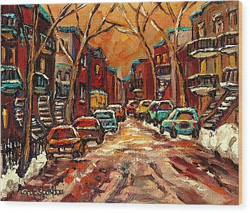 Montreal Streets In Winter Wood Print by Carole Spandau