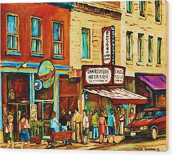 Montreal Streetscene Artist Carole Spandau Paints Schwartzs Main Street Hustle Bustle Wood Print by Carole Spandau
