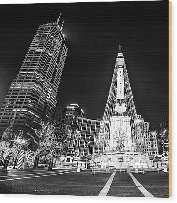 Wood Print featuring the photograph Monument Circle At Christmas - Black And White by Gregory Ballos