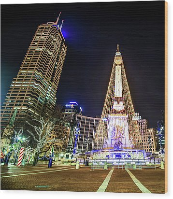 Wood Print featuring the photograph Monument Circle At Christmas - Color by Gregory Ballos