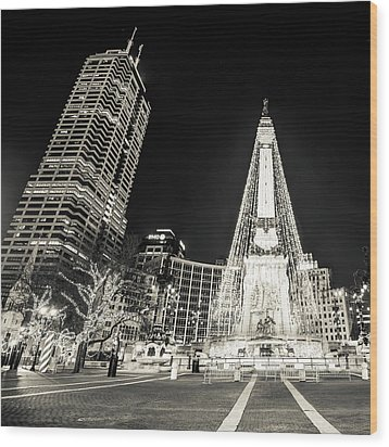 Wood Print featuring the photograph Monument Circle At Christmas - Sepia by Gregory Ballos
