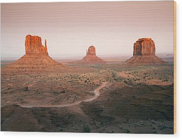 Monument Dusk Wood Print by Mike  Dawson