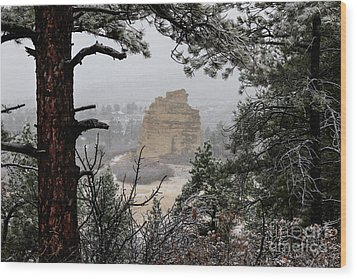 Monument Rock In The Snow Wood Print