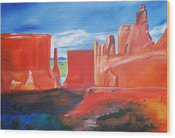 Wood Print featuring the painting Monument Valley  by Eric  Schiabor