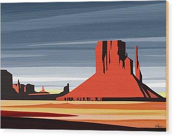 Monument Valley Sunset Digital Realism Wood Print by Sassan Filsoof