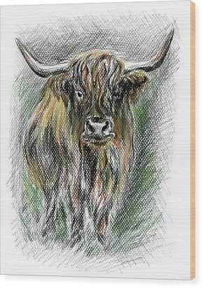 Moo Wood Print by MM Anderson