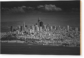 Moody Black And White Photo Of San Francisco California Wood Print by Steven Heap