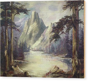 Wood Print featuring the painting Moody Mountain by Rebecca Kimbel