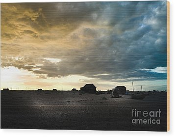 Moody Sky, Dungeness Beach  Wood Print