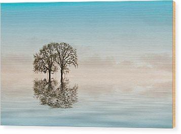 Moody Trees Wood Print by Jean Noren