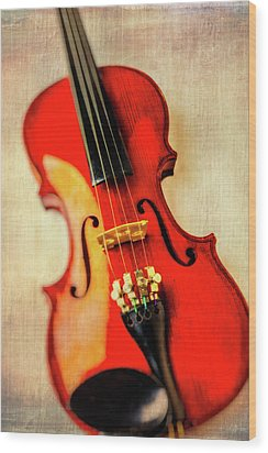 Moody Violin Wood Print by Garry Gay