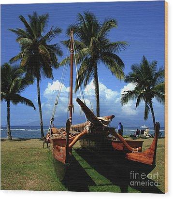 Moolele Canoe At Hui O Waa Kaulua Lahaina Wood Print by Sharon Mau