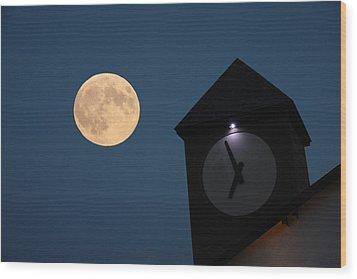Moon And Clock Tower Wood Print