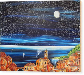 Moon And Stars Over The Village  Wood Print