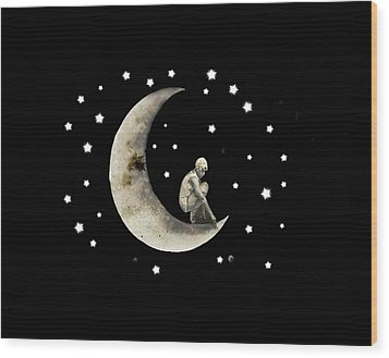 Moon And Stars T Shirt Design Wood Print