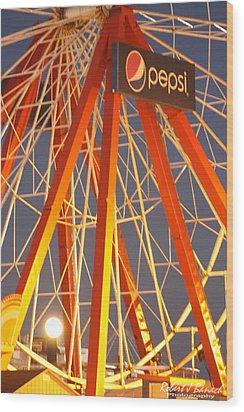 Moon And The Ferris Wheel Wood Print