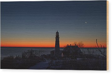 Moon And Venus - Headlight Sunrise Wood Print