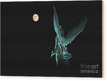 Wood Print featuring the photograph Super Moon And Winged Goddess Of Victory by Charline Xia