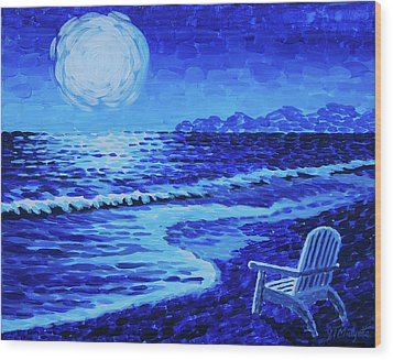 Moon Beach Wood Print