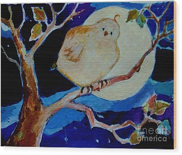 Wood Print featuring the painting Moon Bird by Diane Ursin