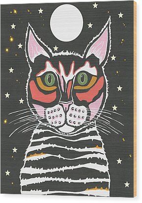 Moon Cat Wood Print by Kathleen Sartoris