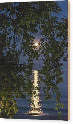 Moon Curtain Wood Print